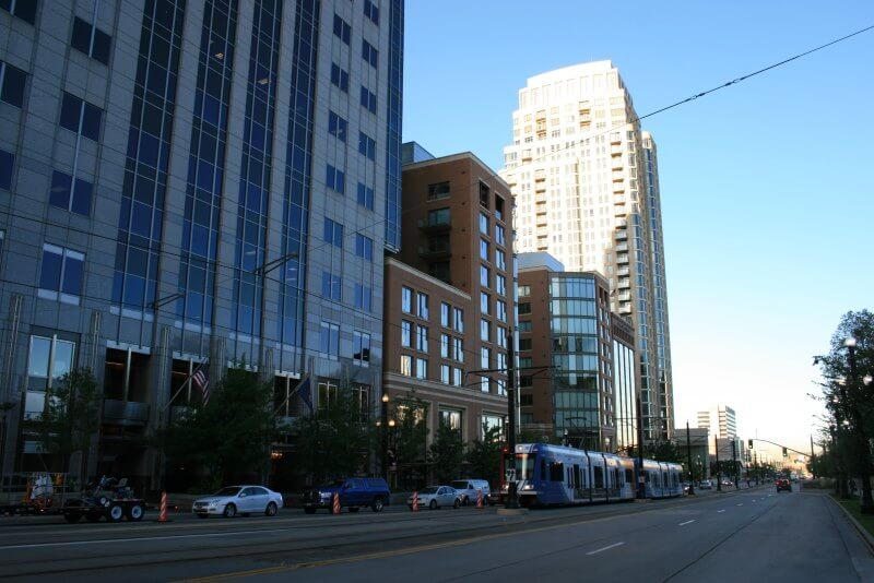 Downtown Salt Lake City with Trax Train