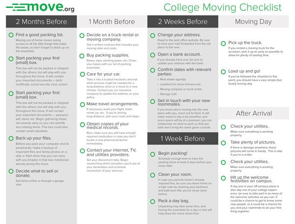 Moving Checklist For College Students Printable StepByStep Checklist