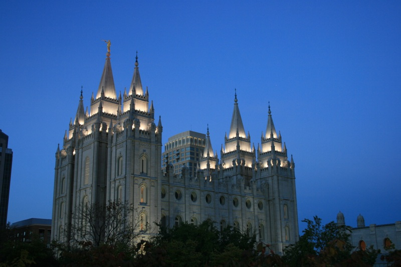Mormon Temple at Night