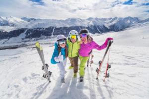 Utah skiers on mountain