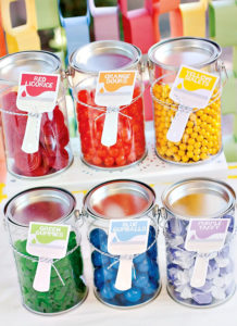 Jars filled with colorful candy
