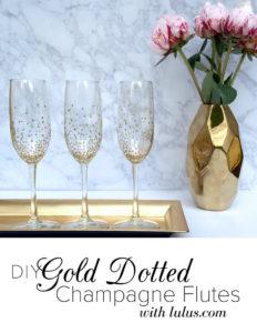 DIY Gold Dotten Champagne Flutes