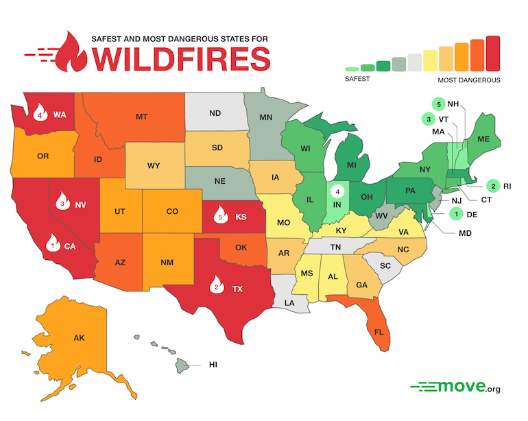 5 Most Dangerous States for Wildfires