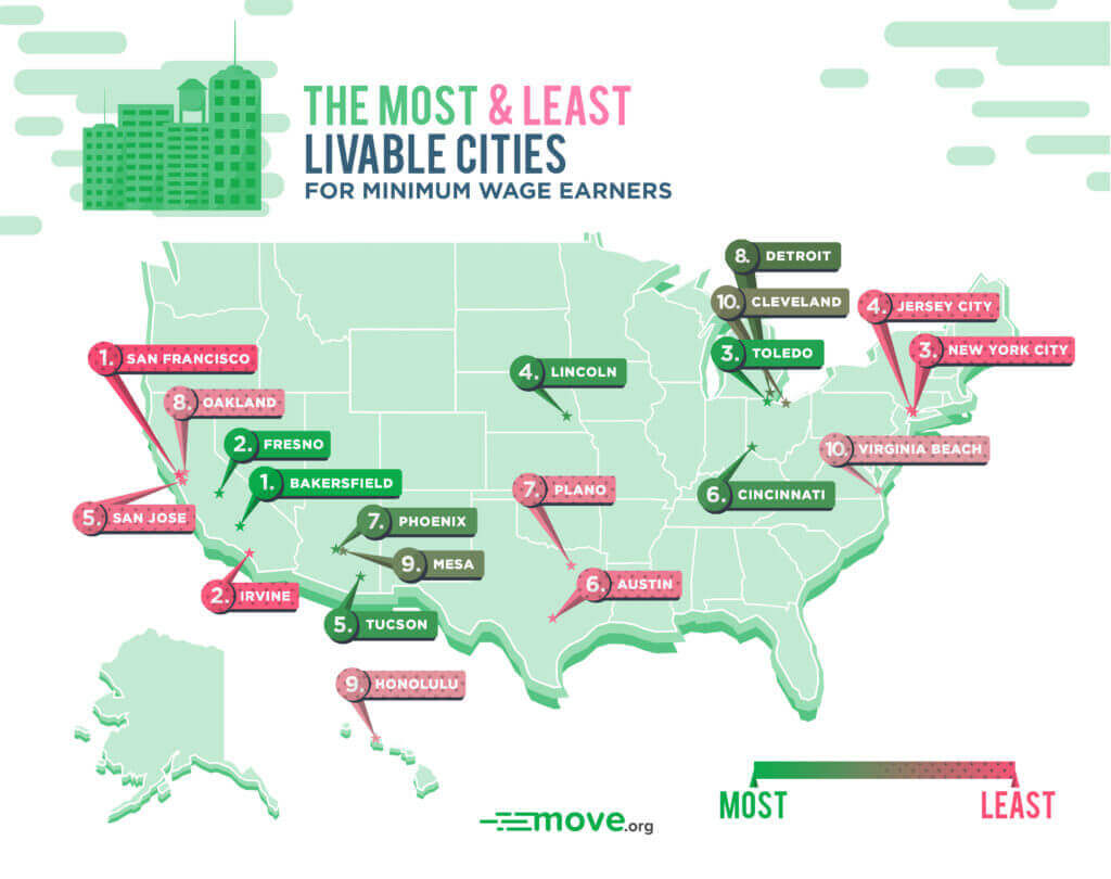 Most and least livable cities for minimum wage map