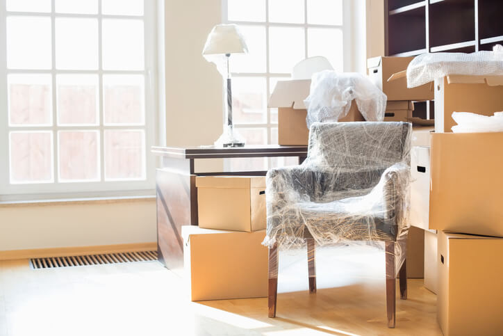 Packed furniture and boxes