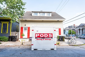 PODS moving container on a street corner