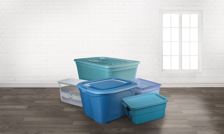 Storage bins on the floor