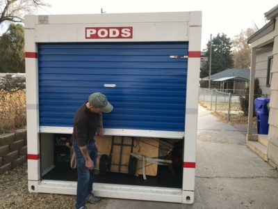 PODS moving container being opened
