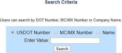 FMCSA search criteria