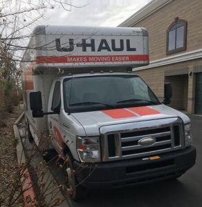 Parked U-Haul moving truck