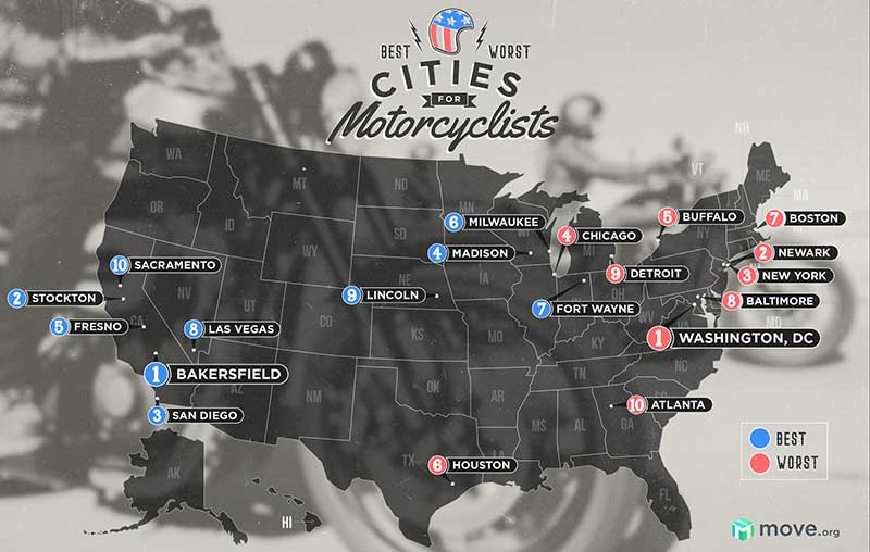 Map of best and worst cities for motorcyclists