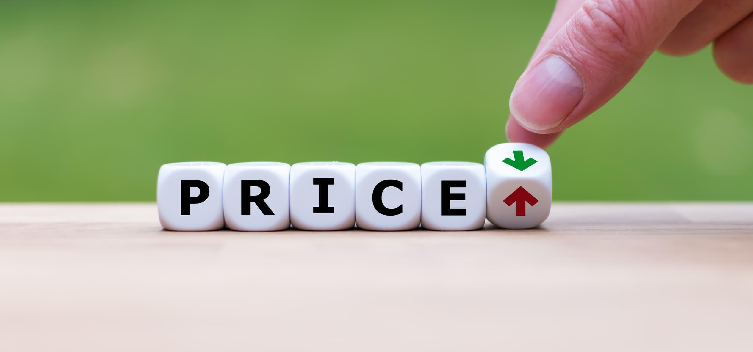 "Blocks spelling the word, ""price."""