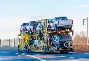 Cars on a auto transport truck