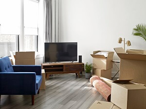 TV with boxes
