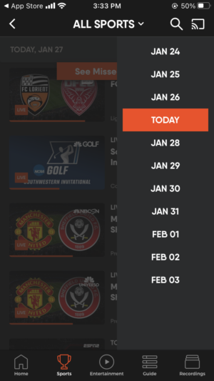Fubo Live TV on mobile, Sports view, calendar