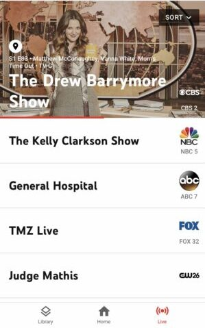 YouTube Live TV on mobile, Live View, CBS 2 Drew Barrymore Show